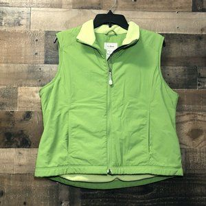 Womens LL Bean Nylon Vest Fleece Lined Green Large